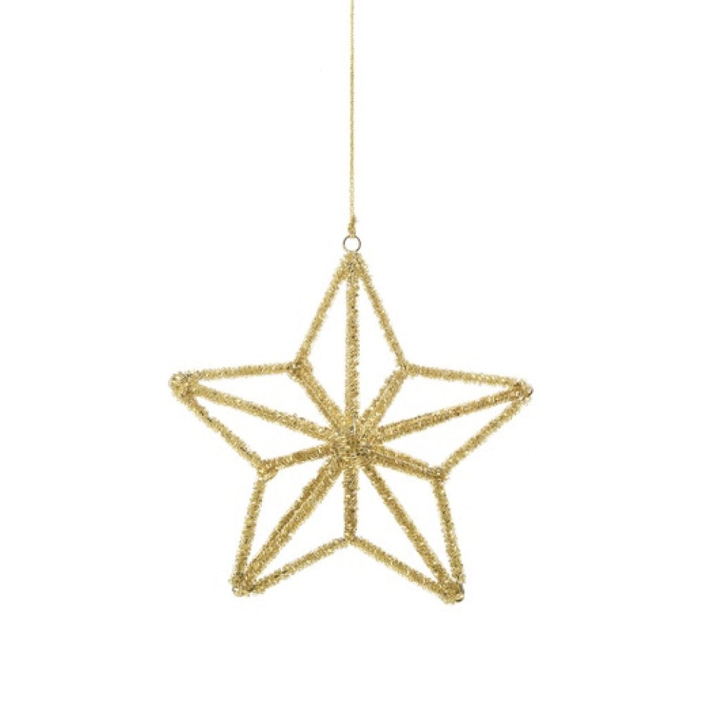 Gold Beaded 3D Star Ornament