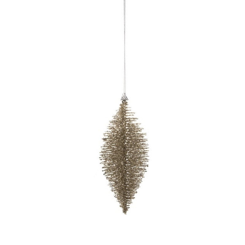Gold Glittered Fiber Drop Ornament - Small