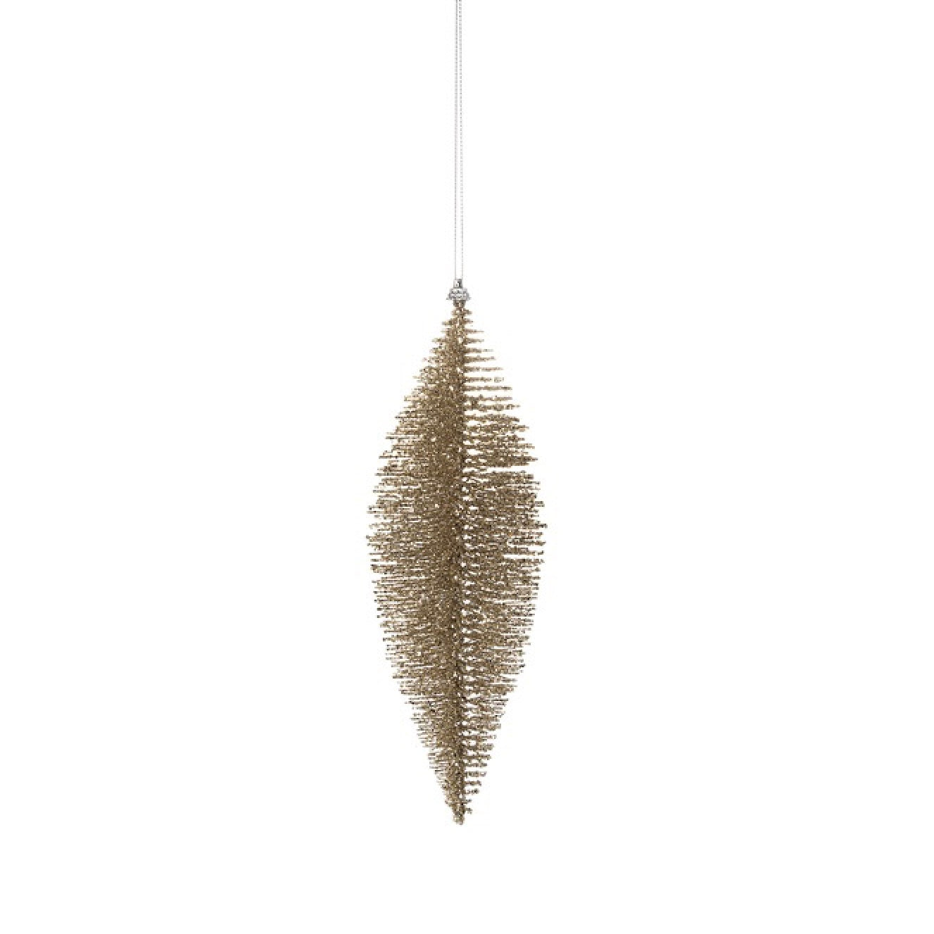 Gold Glittered Fiber Drop Ornament - Medium