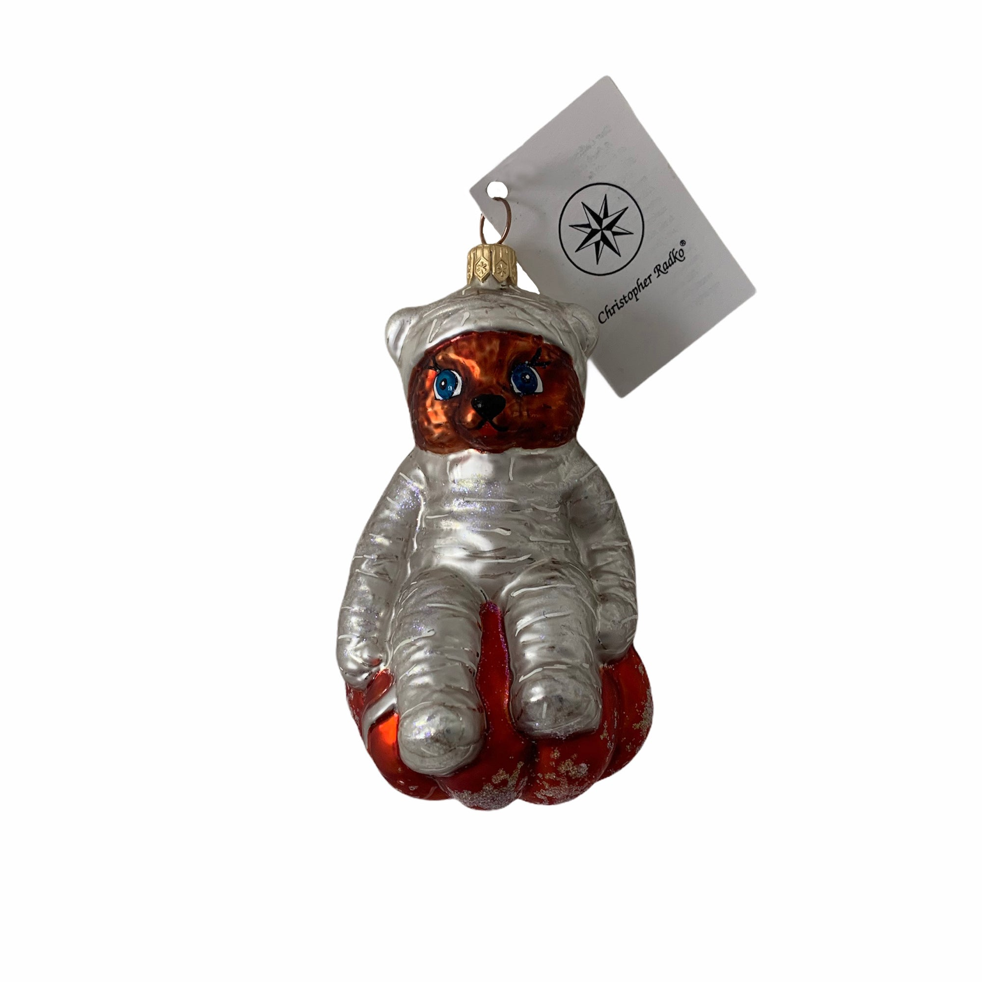 "Christopher Radko ""Bear Wrap"" Halloween Glass Ornament"