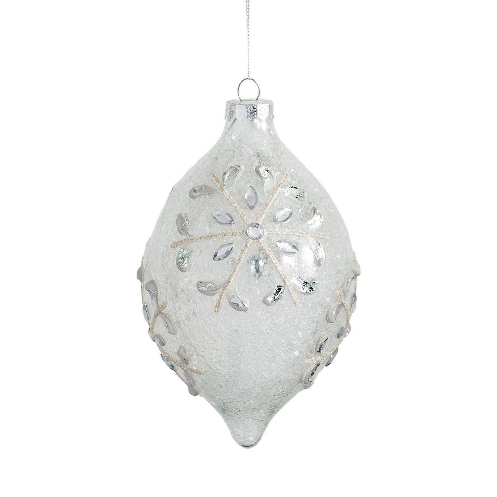 Frosted Clear with Snowflakes Glass Double Point Ornament