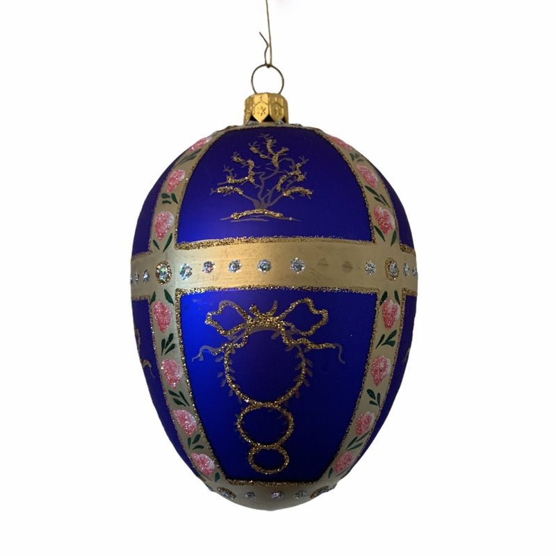 Cobalt Blue with Pink Roses European Glass Egg Ornament | Putti Christmas