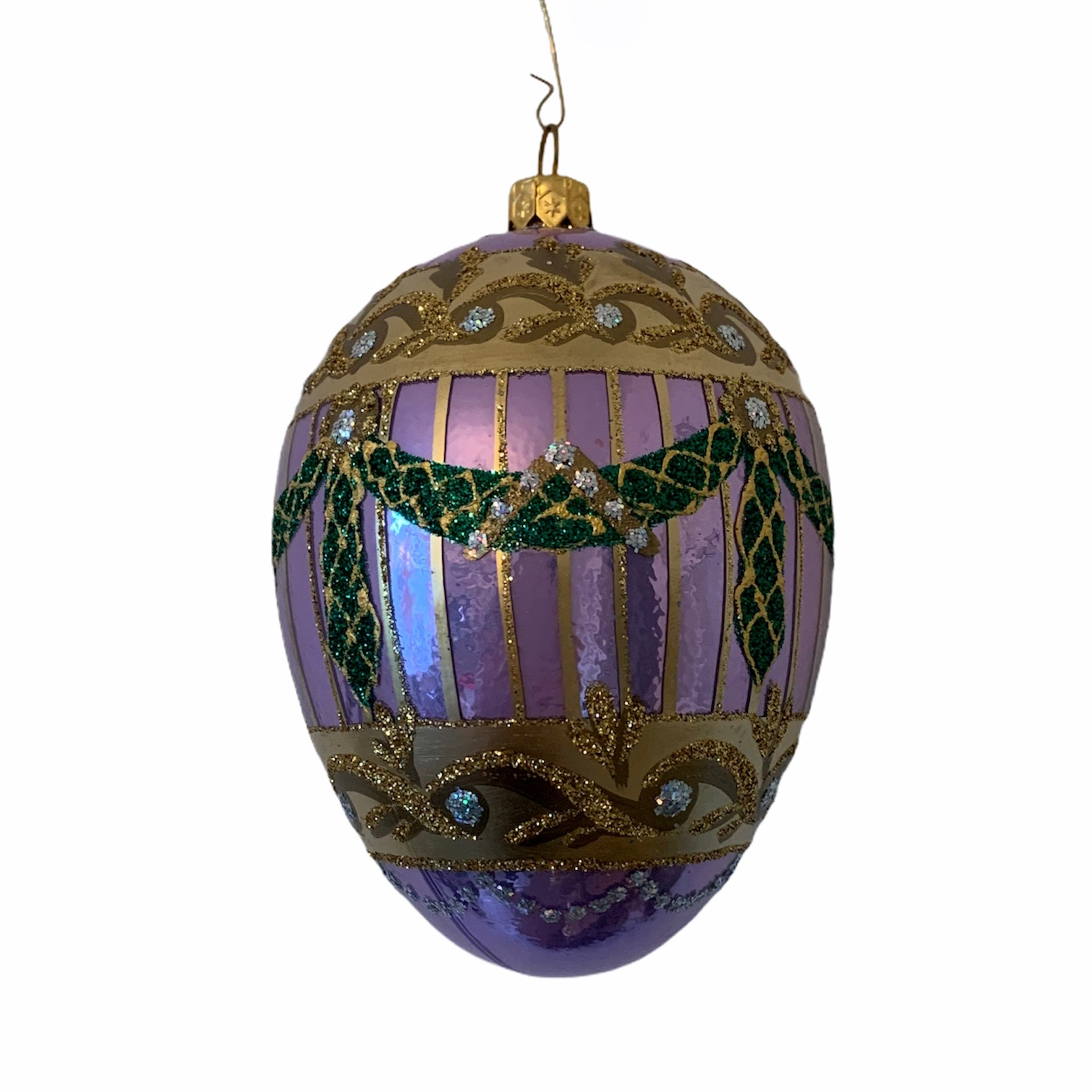 Purple with Swags European Glass Egg Ornament