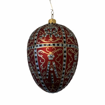 Red with Filigree European Glass Egg Ornament