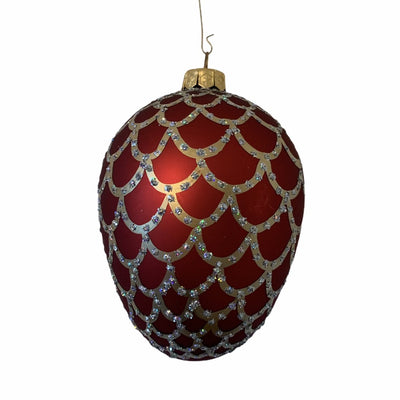 Red with Scales European Glass Egg Ornament
