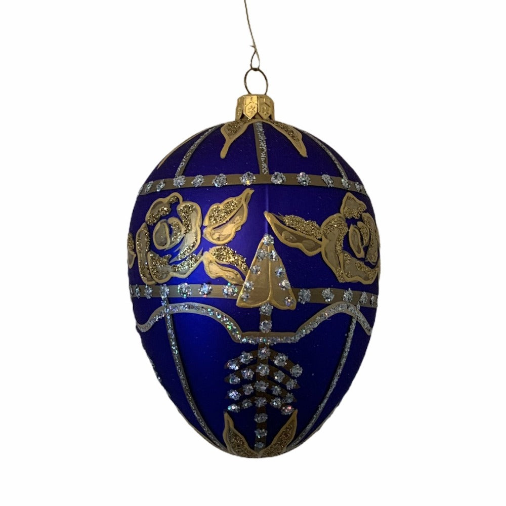 Cobalt with Gold Roses European Glass Egg Ornament | Putti Christmas