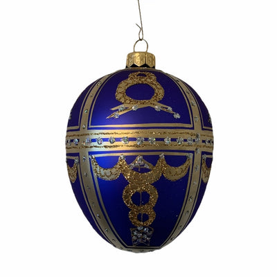 Cobalt with Gold Wreaths European Glass Egg Ornament | Putti Christmas