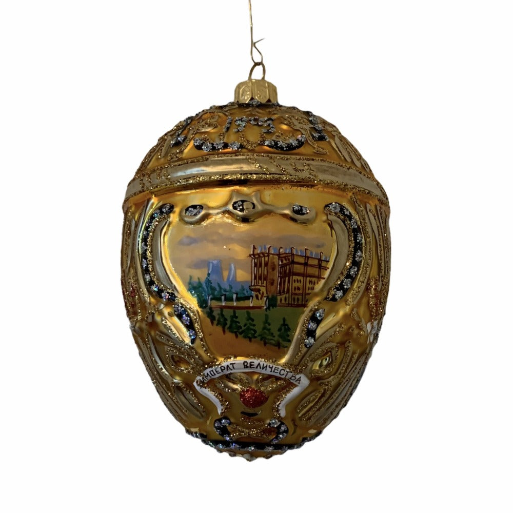 Gold with Chateau European Glass Egg Ornament