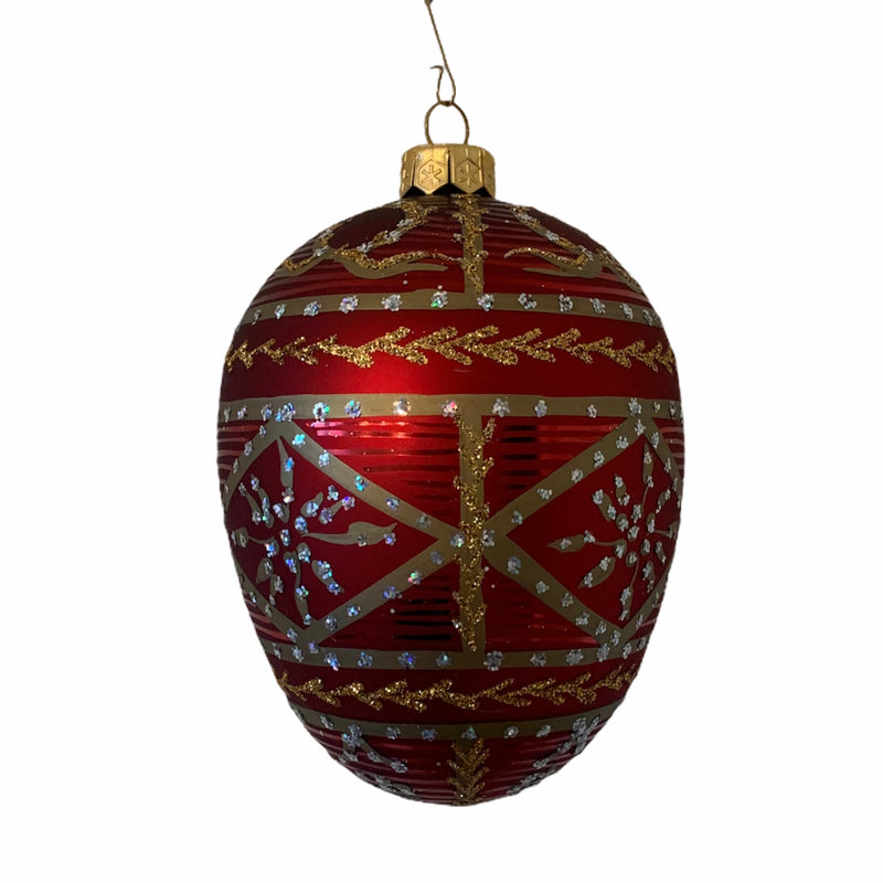 Red with Gold Diamond Band European Glass Egg Ornament
