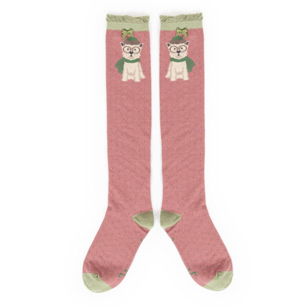 "Powder ""Winter Westie"" Long Socks - Candy"
