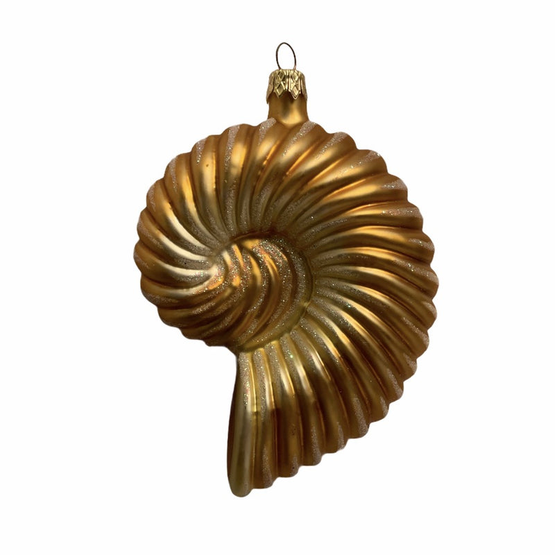 Gold Nautilus Shell Glass Ornament | Putti Christmas Decorations