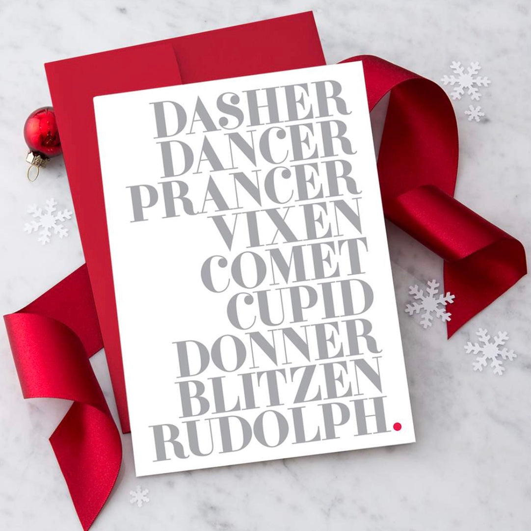 Reindeer Names Boxed Christmas Cards