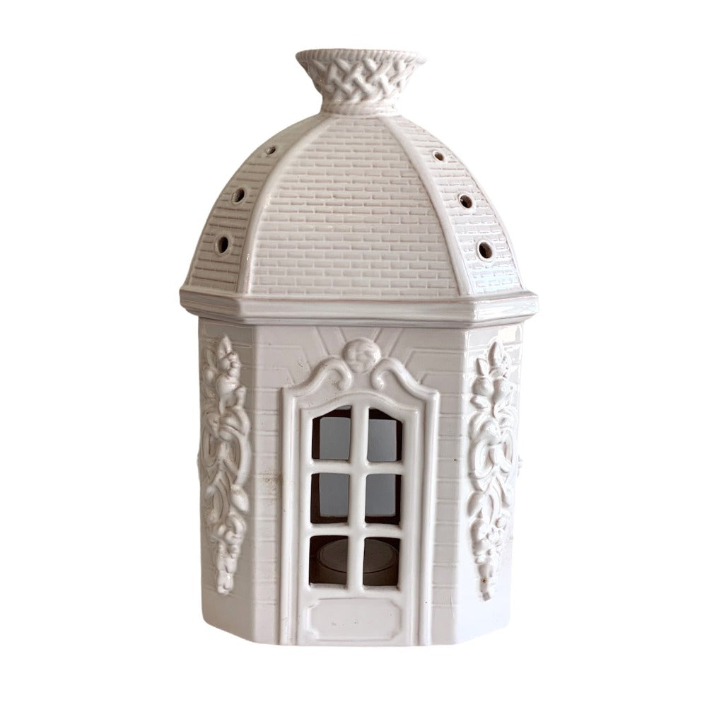 White French Faience Chateau Tea Light Holder