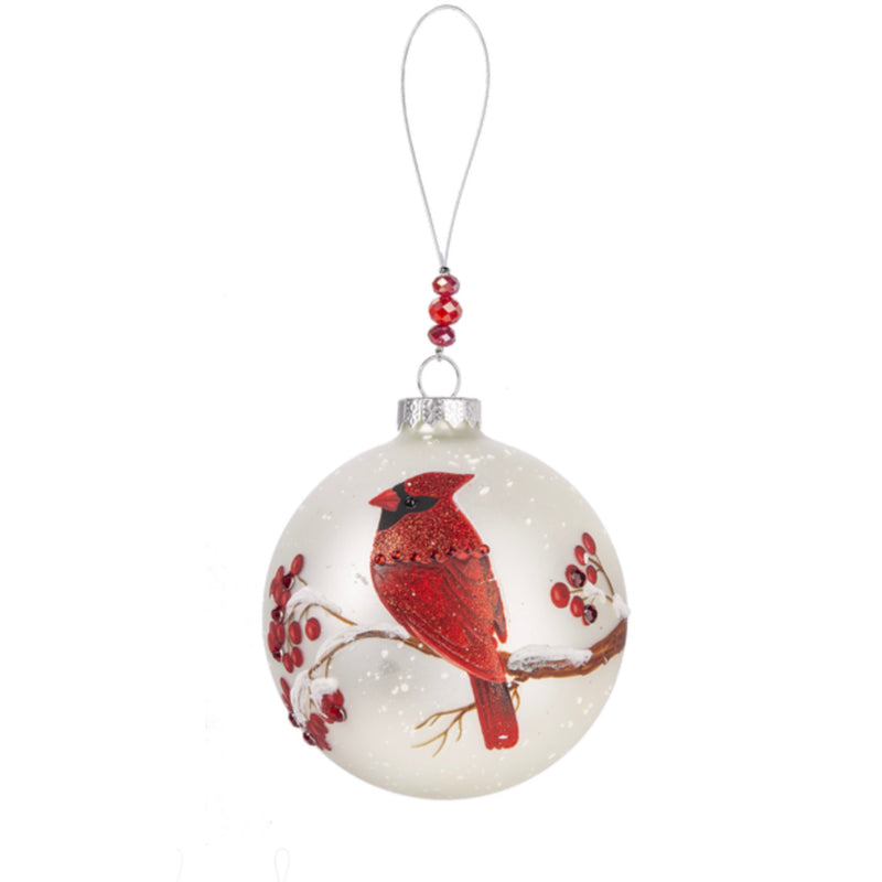 Cardinal with Berries Glass Ball Ornament | Putti Christmas Celebrations