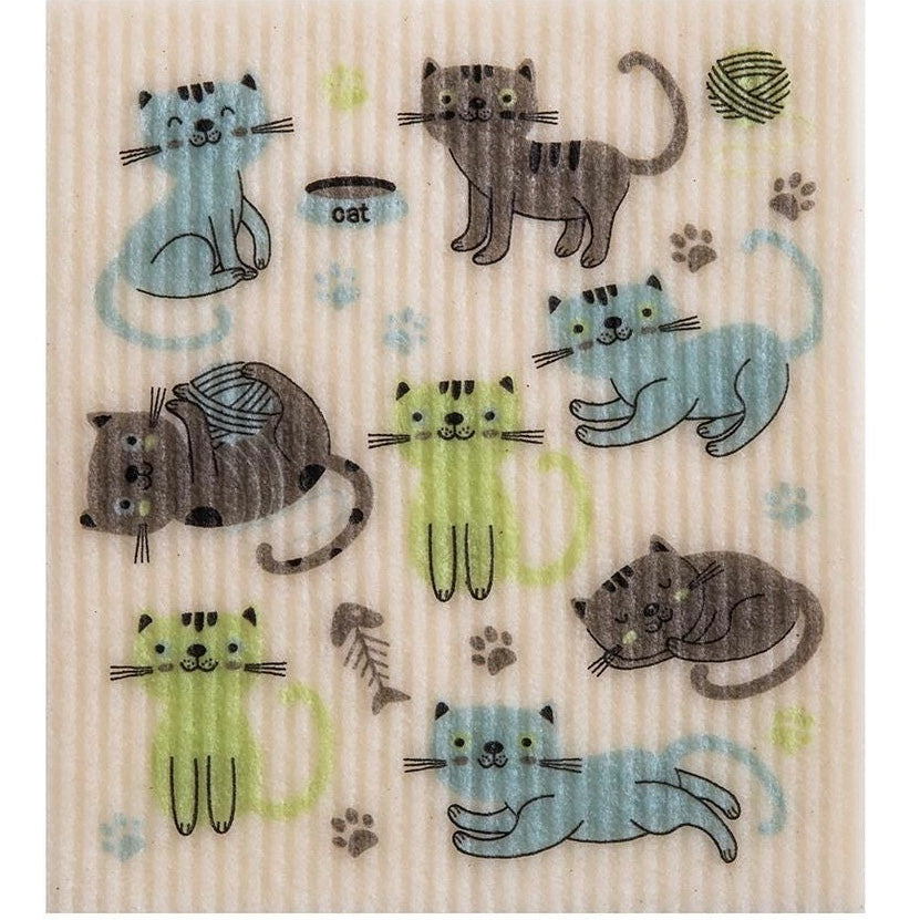 Wet it! Cats at Play Swedish Cloth | Putti Fine Furnishings Canada