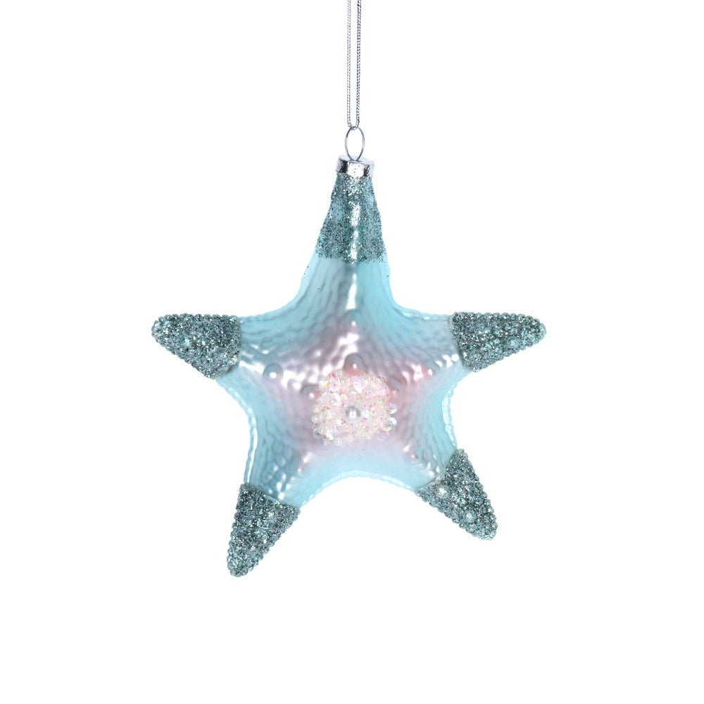 Blue Starfish Glass Ornament