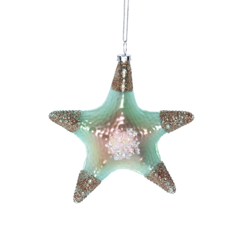 Mint Green Starfish Glass Ornament