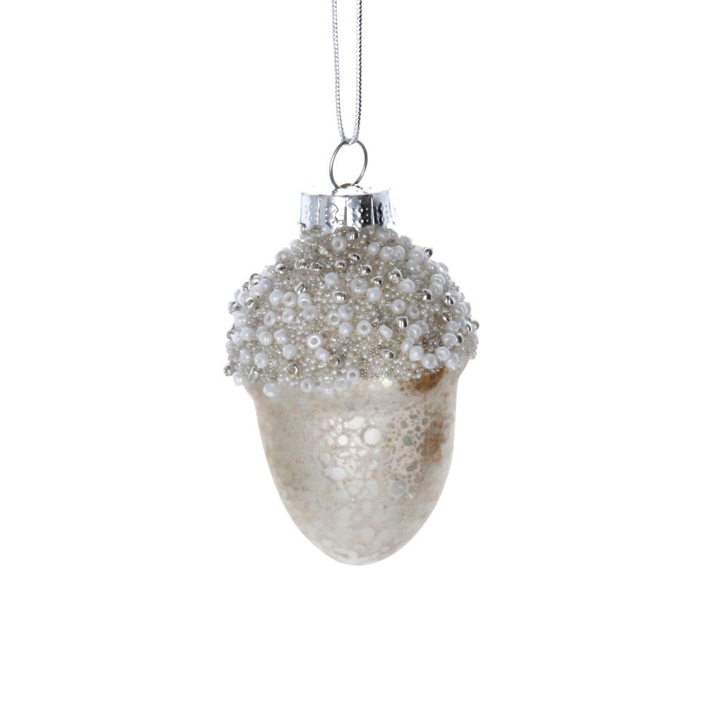 Ivory Beaded Acorn Glass Ornament