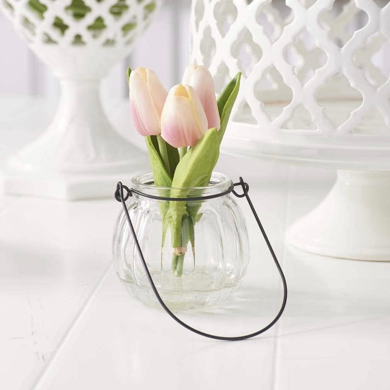 Pink Tulips in Glass Jar | Putti Fine Furnishings