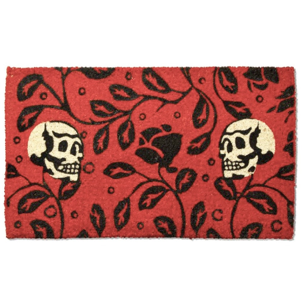 Orange Ivy Skulls Coir Doormat