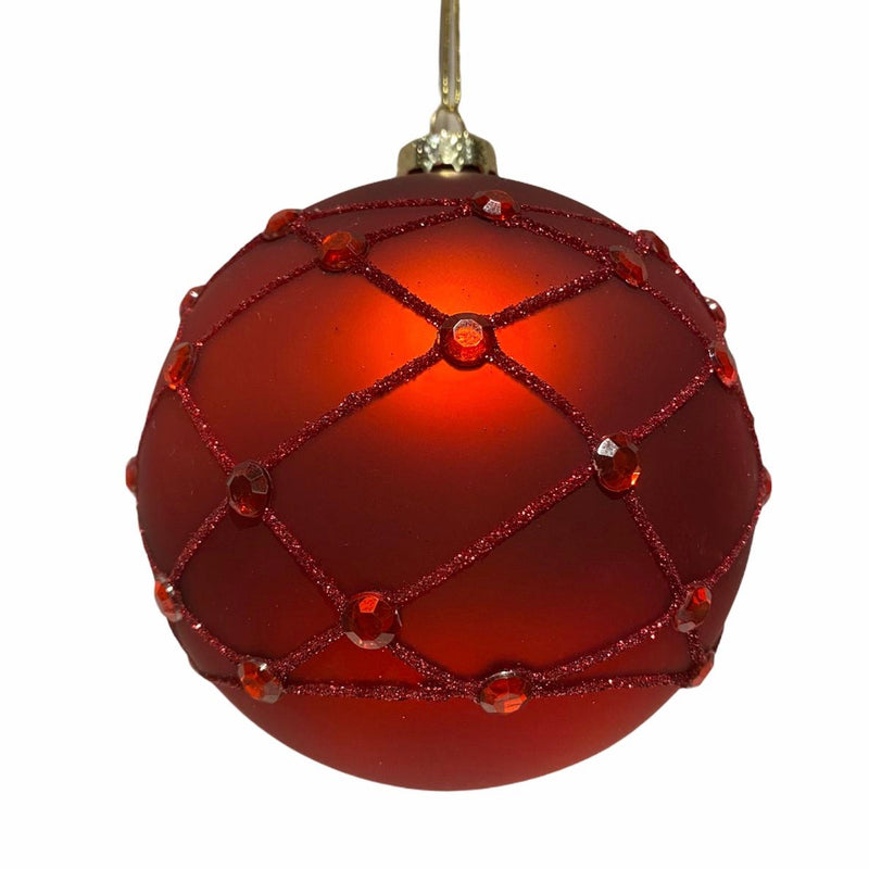 Red with Trellis and Jewels Glass Ball Ornament