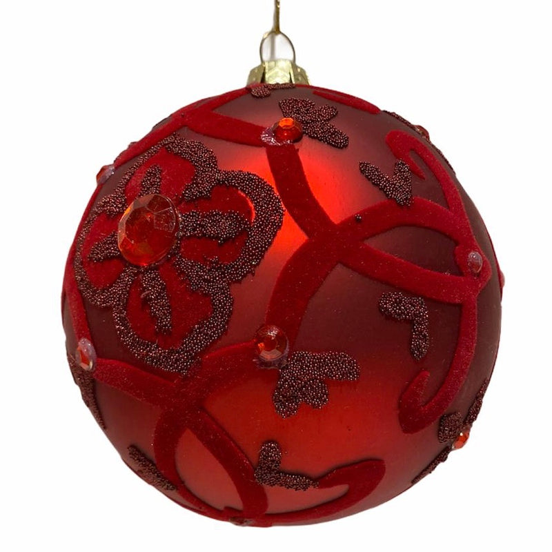 Winward Red with Velvet Swirls Glass Ball Ornament | Putti Christmas