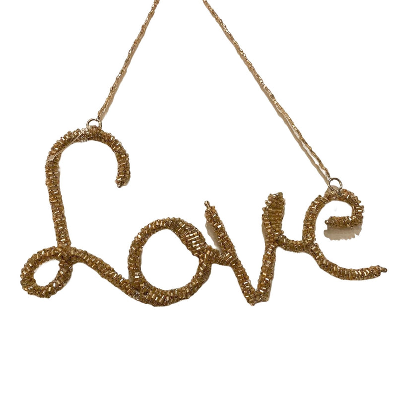 "Rose Gold Beaded ""Love"" Ornament"