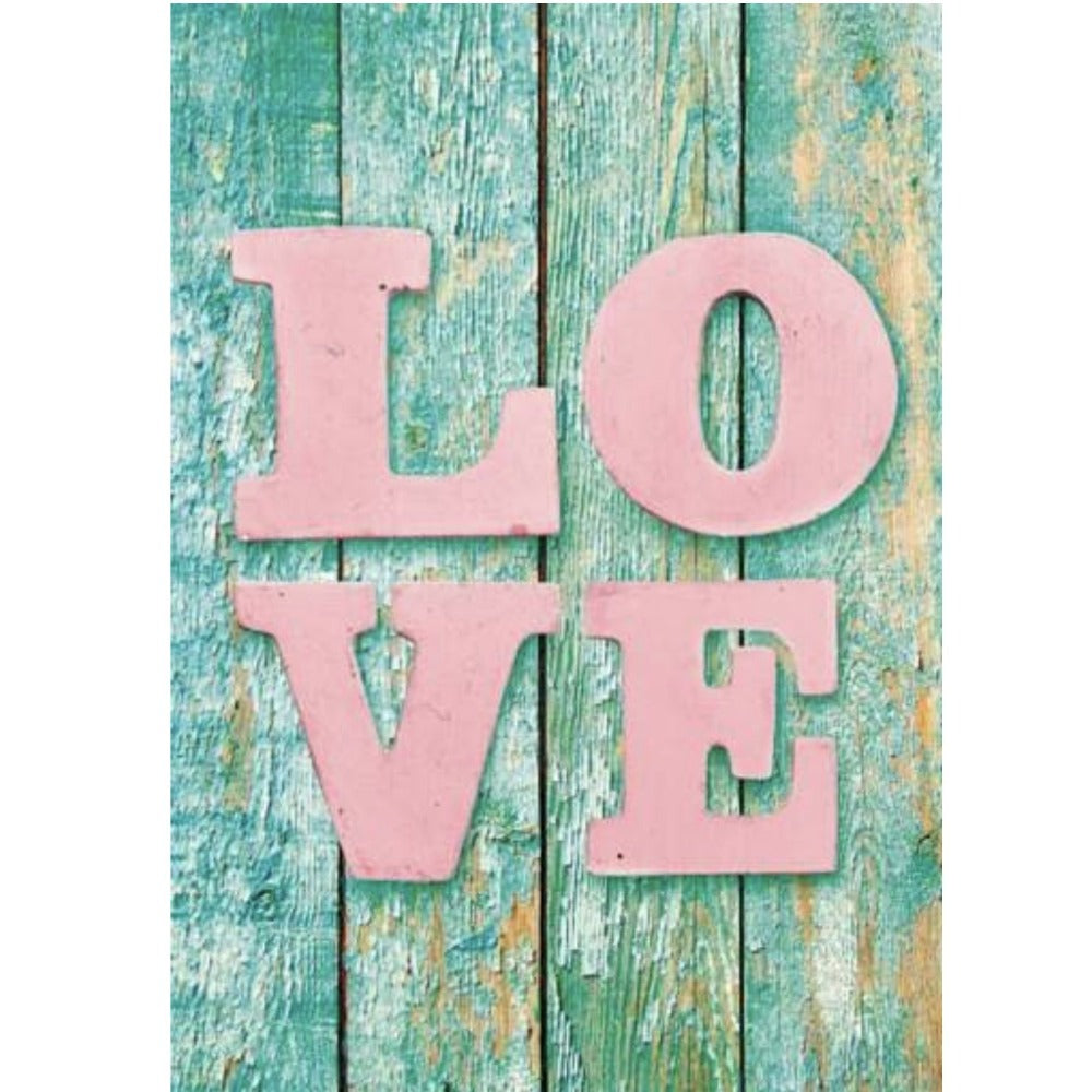 "Pink ""Love"" on Distressed Wood Greeting Card"