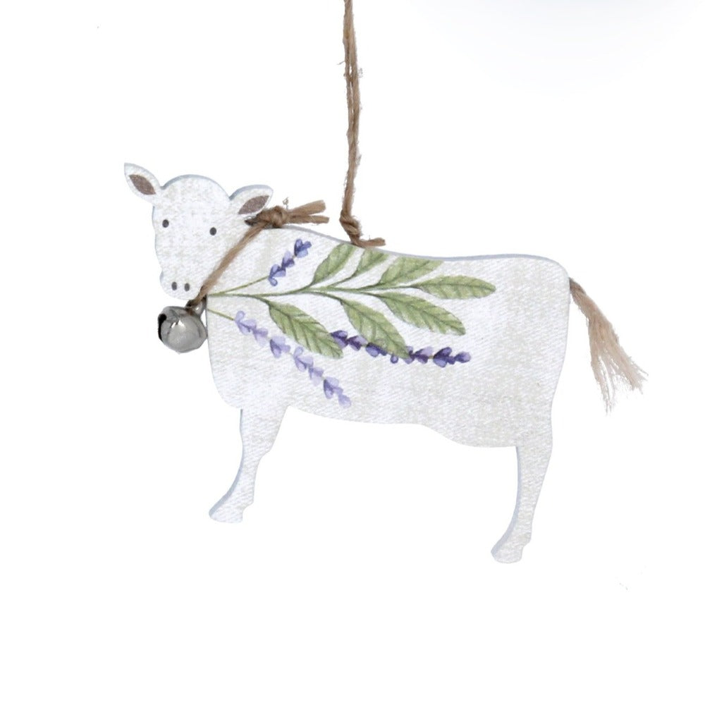 Herbs Cow Wood Ornament  | Putti Decorations
