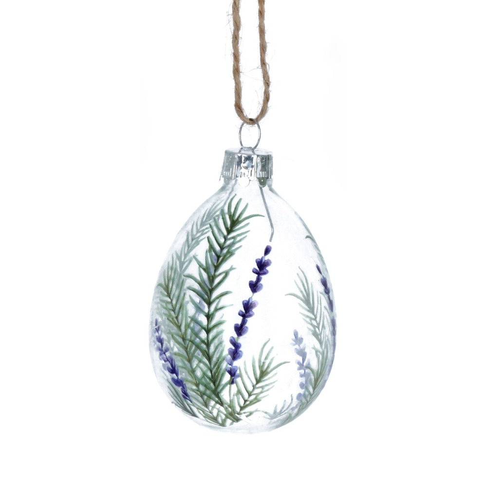 Herb and Lavender Glass Egg Ornament