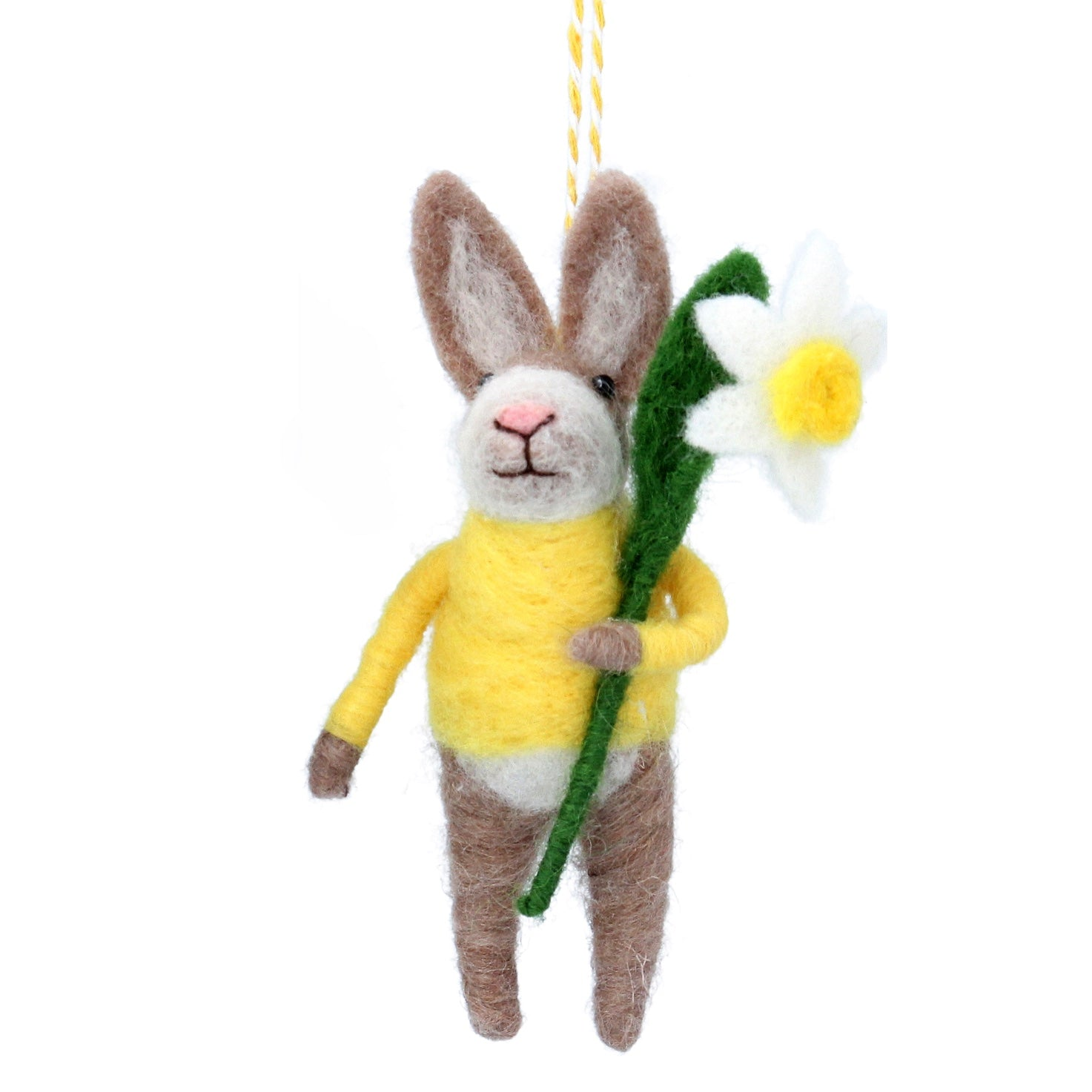 Bunny with Yellow Sweater and Daffodil Felt Ornament