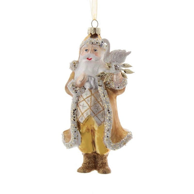 Gold and Ivory Santa with Swan Glass Ornament