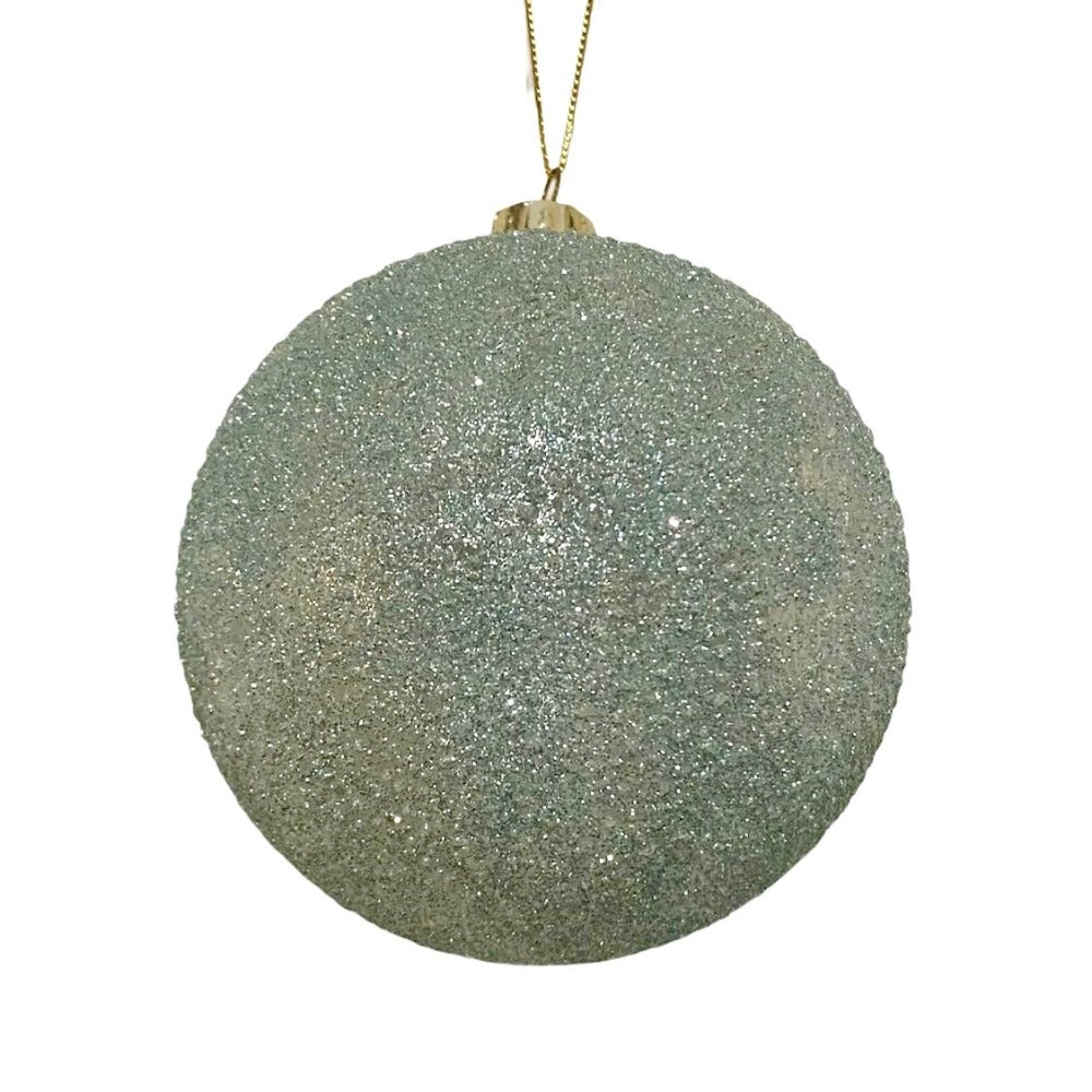 Frosted Blue Green Glass Ball Ornament