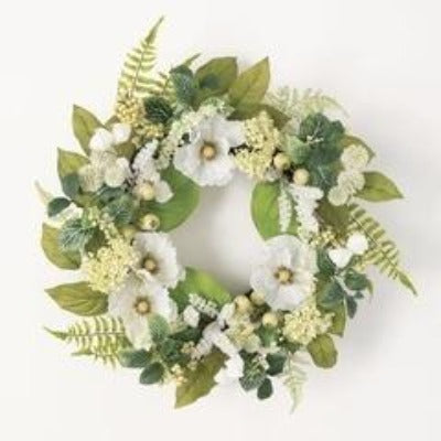 White Poppy Foliage Wreath