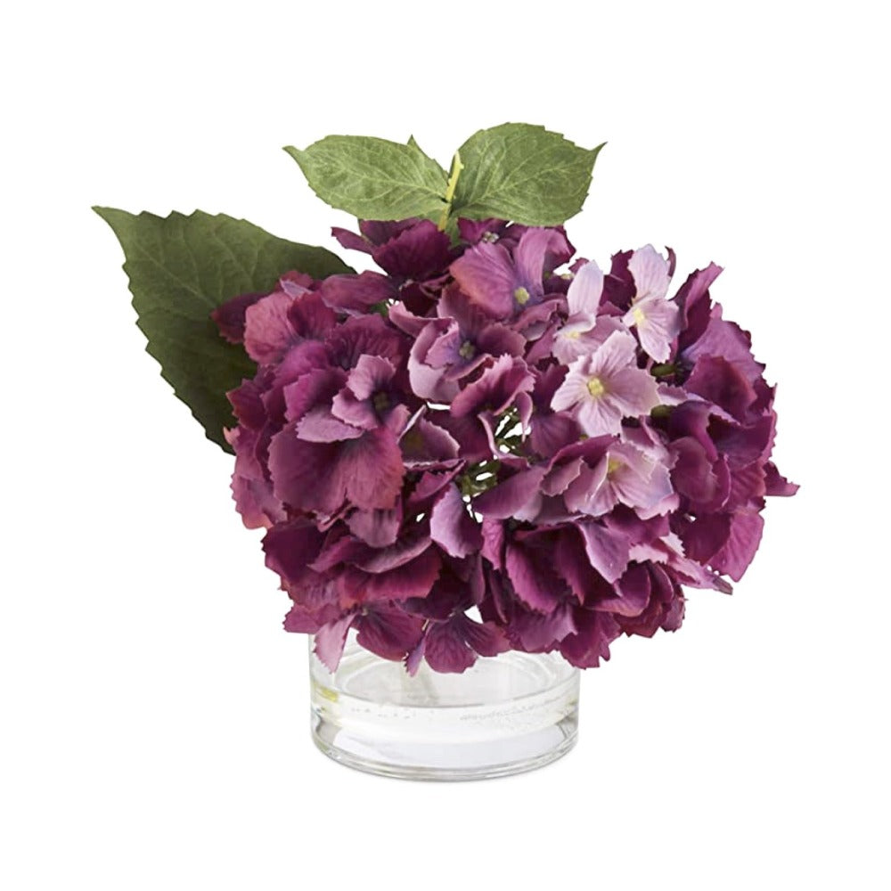 Purple Real Touch Hydrangea in Glass Vase