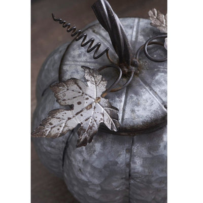 Galvanized Metal Lidded Pumpkin with Leaves | Putti Thanksgiving