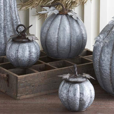 Galvanized Metal Lidded Pumpkin with Leaves