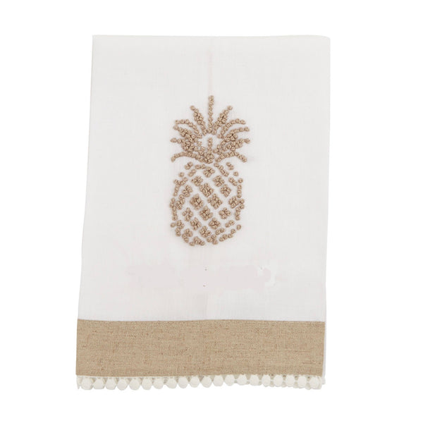 Pineapple Linen Towels-Soft Furnishings-MP-Mud Pie-White Linen-Putti Fine Furnishings