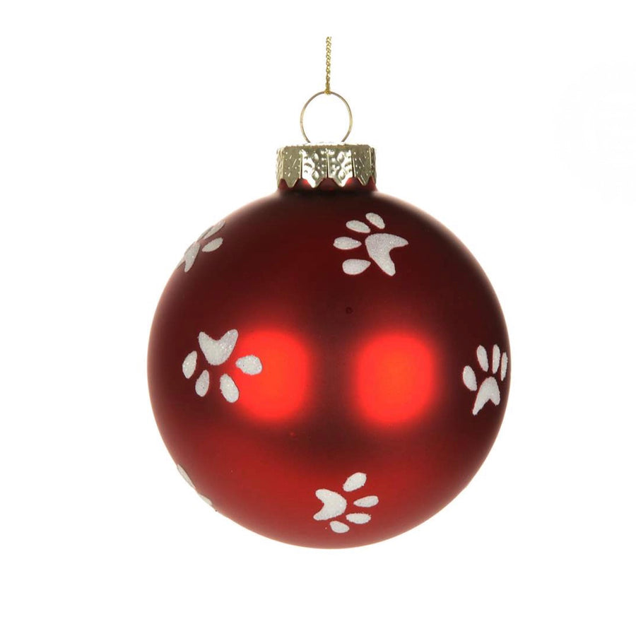 Red Glass Ball with Paw Prints