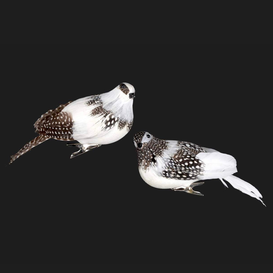 White Spotted Feather Bird with Clip
