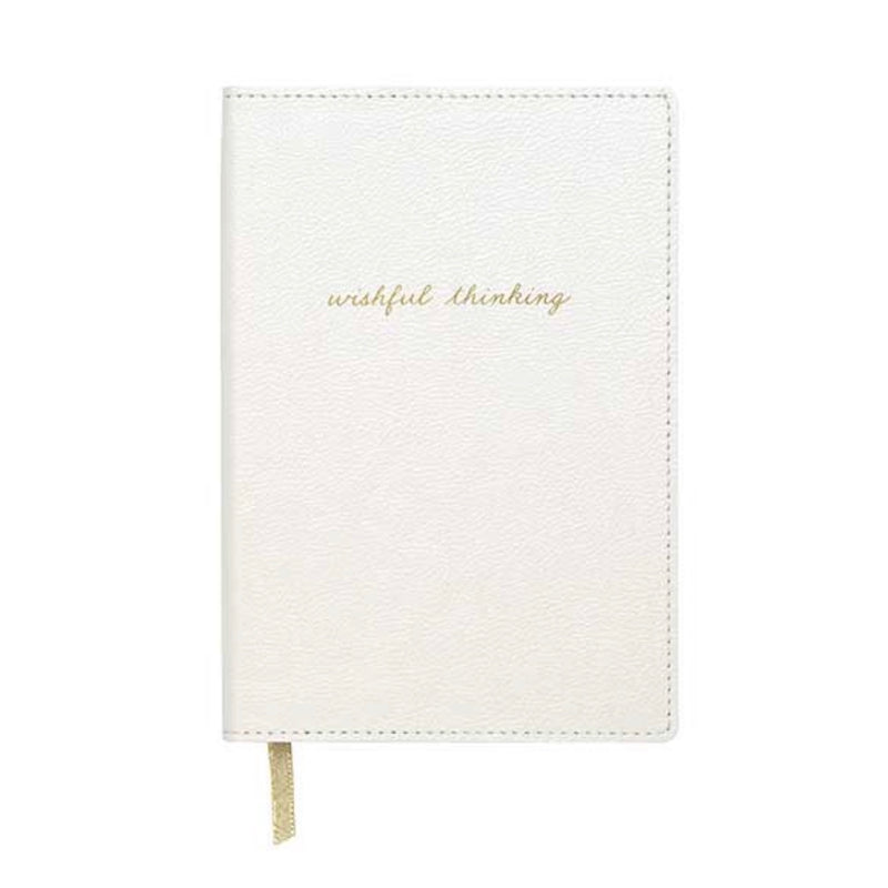 "'Wishfull Thinking"" White Leatherette Journal, CRG-CR Gibson, Putti Fine Furnishings"