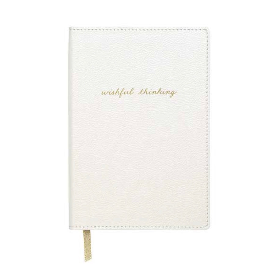 "'Wishfull Thinking"" White Leatherette Journal"