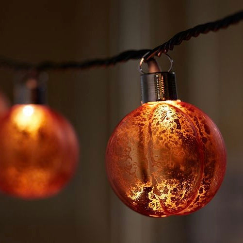 Mercury Glass LED Pumpkin Light String