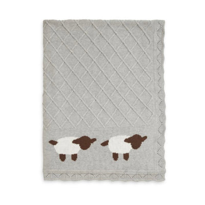Elegant Baby Lamb Grey Knit Blanket, EB-Elegant Baby, Putti Fine Furnishings