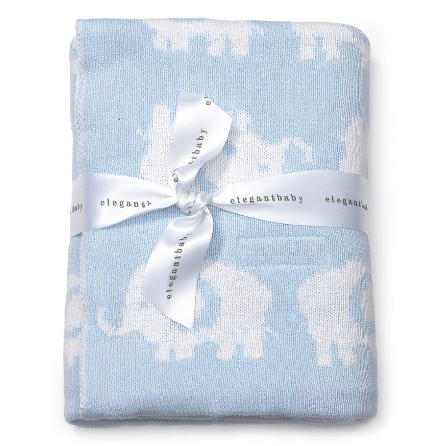 Elegant Baby Elephant Blue Knit Blanket, EB-Elegant Baby, Putti Fine Furnishings