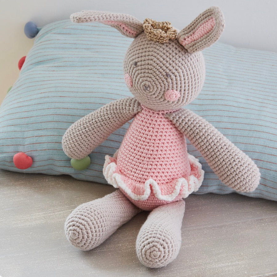 Albetta Crochet Beatrice Princess Bunny Rattle, AUK-Albetta UK, Putti Fine Furnishings