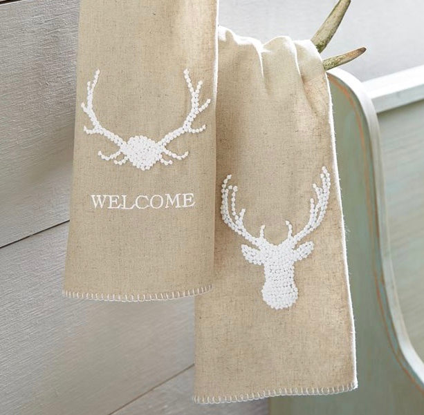 Deer French Knot Hand Towels, MP-Mud Pie, Putti Fine Furnishings