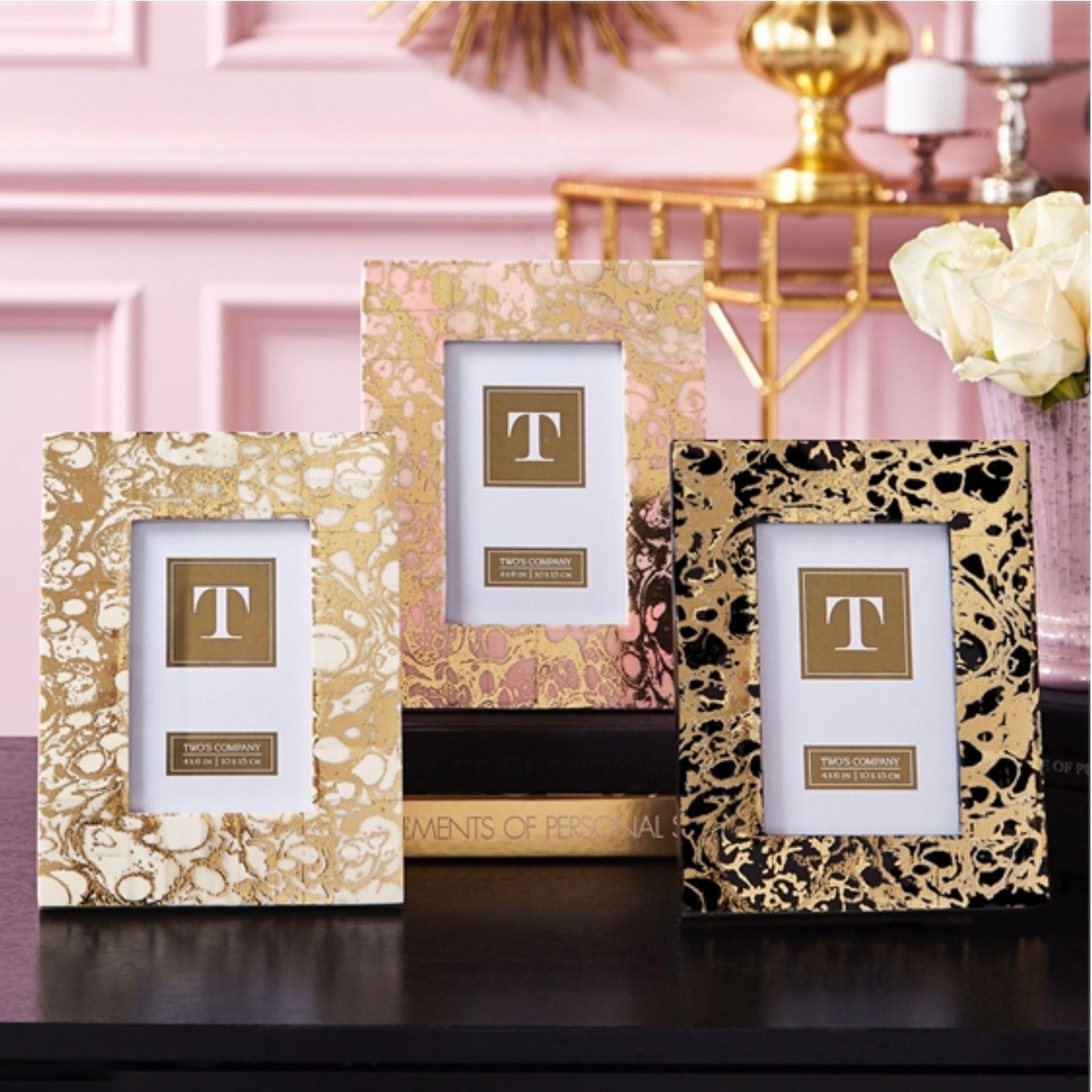 Marbleized Gold Picture Frames