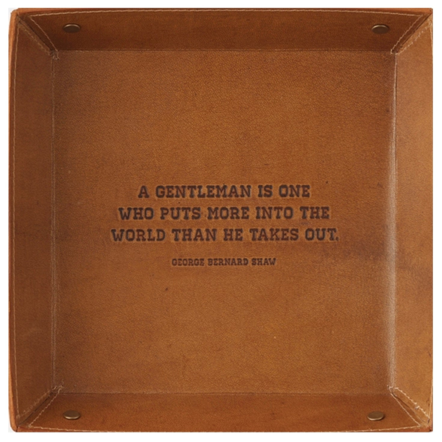 "Leather Tray with Quote-Giftware-TC-Two's Company-""A Gentleman is ..."" George Bernard Shaw-Putti Fine Furnishings"