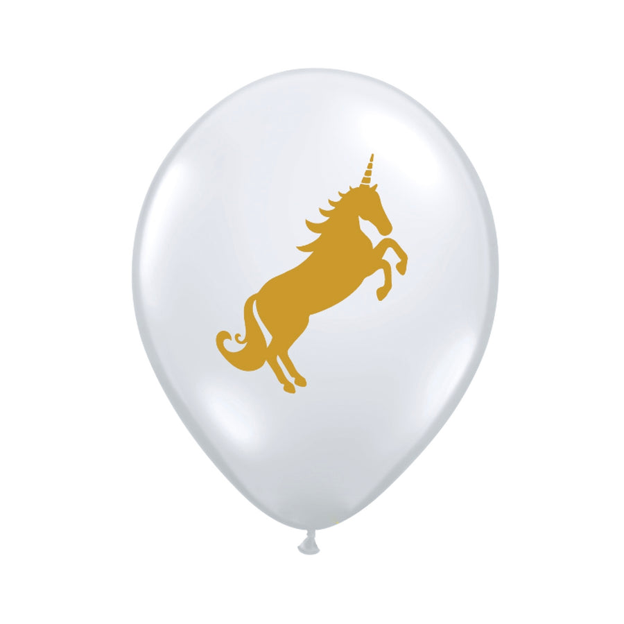 Diamond Clear Unicorn Balloons 11""